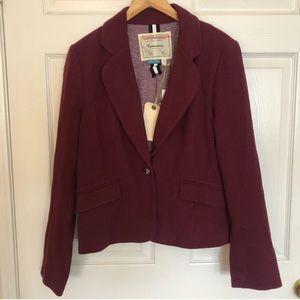 Anthropologie | Cartonnier burgundy cotton blazer